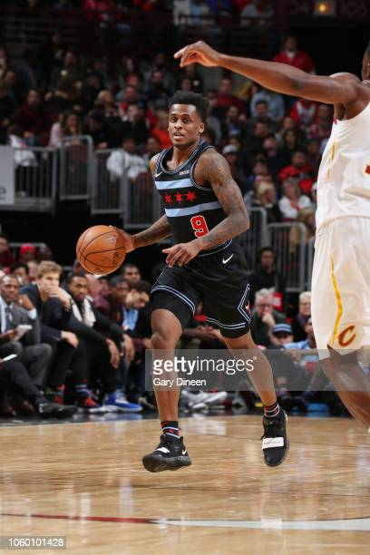 Antonio Blakeney of the Chicago Bulls handles the ball during the game against the Cleveland Cavaliers on November 10 2018 at the United Center in...