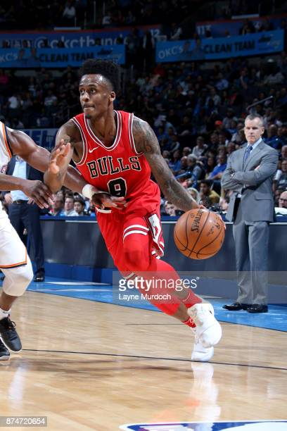 Antonio Blakeney of the Chicago Bulls handles the ball during the game against the Oklahoma City Thunder on November 15 2017 at Chesapeake Energy...