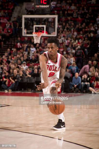Antonio Blakeney of the Chicago Bulls handles the ball during the game against the Portland Trail Blazers on January 31 2018 at the Moda Center Arena...