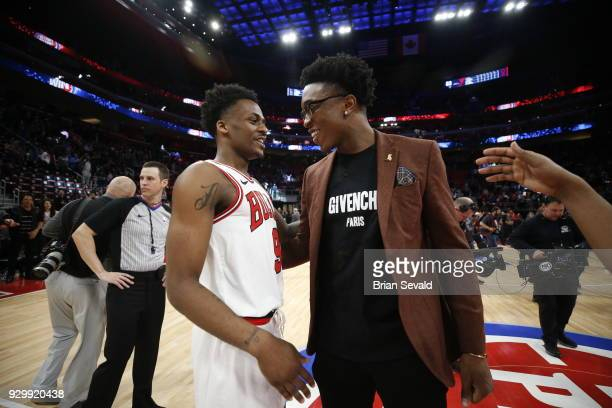 Antonio Blakeney of the Chicago Bulls hugs Stanley Johnson of the Detroit Pistons after the game between the two teams on MARCH 9 2018 at Little...