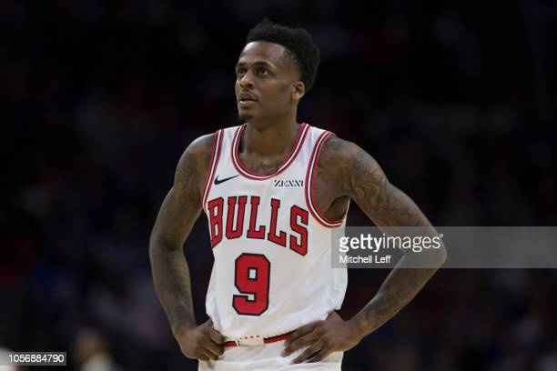 Antonio Blakeney of the Chicago Bulls looks on against the Philadelphia 76ers at the Wells Fargo Center on October 18 2018 in Philadelphia...