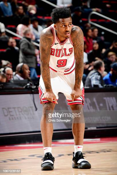 Antonio Blakeney of the Chicago Bulls looks on during the game against the Detroit Pistons on November 30 2018 at Little Caesars Arena in Detroit...