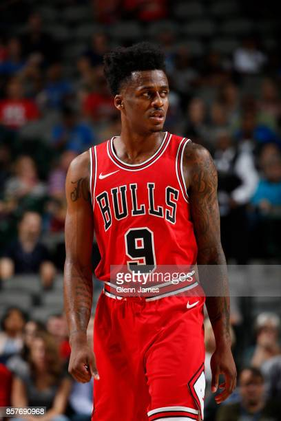 Antonio Blakeney of the Chicago Bulls looks on during the game against the Dallas Mavericks on October 4 2017 at the American Airlines Center in...