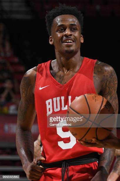 Antonio Blakeney of the Chicago Bulls looks on during the game against the Dallas Mavericks during the 2018 Las Vegas Summer League on July 11 2018...