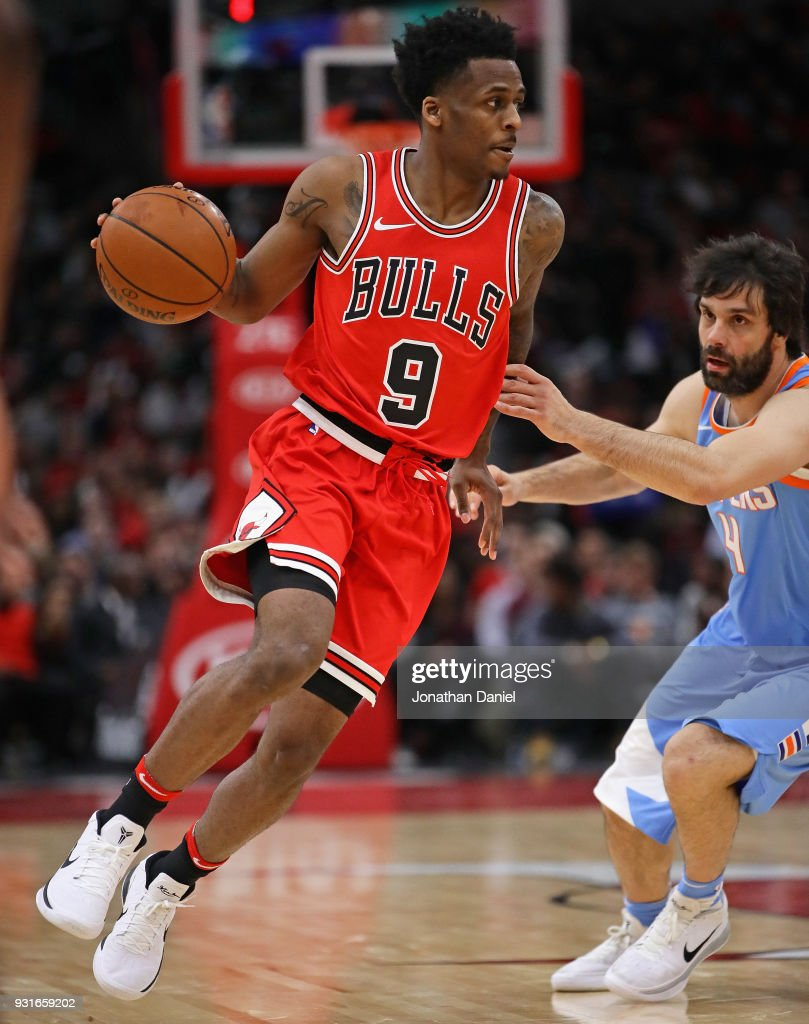 Antonio Blakeney of the Chicago Bulls moves around Milos