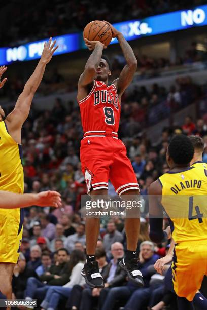 Antonio Blakeney of the Chicago Bulls shoots a three point shot against the Indiana Pacers at the United Center on November 2 2018 in Chicago...