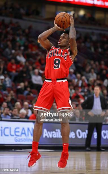 Antonio Blakeney of the Chicago Bulls shoots against the Phoenix Suns at the United Center on November 28 2017 in Chicago Illinois The Suns defeated...