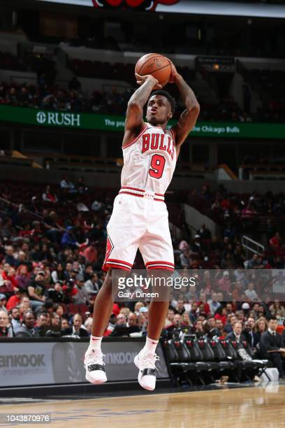 Antonio Blakeney of the Chicago Bulls shoots the ball against the New Orleans Pelicans during a preseason game on September 30 2018 at the United...
