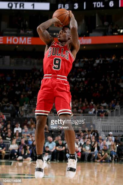 Antonio Blakeney of the Chicago Bulls shoots the ball against the Milwaukee Bucks during a preseason game on October 3 2018 at Fiserv Forum in...