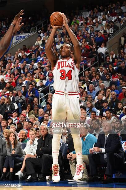 Antonio Blakeney of the Chicago Bulls shoots the ball against the Philadelphia 76ers on October 18 2018 at the Wells Fargo Center in Philadelphia...