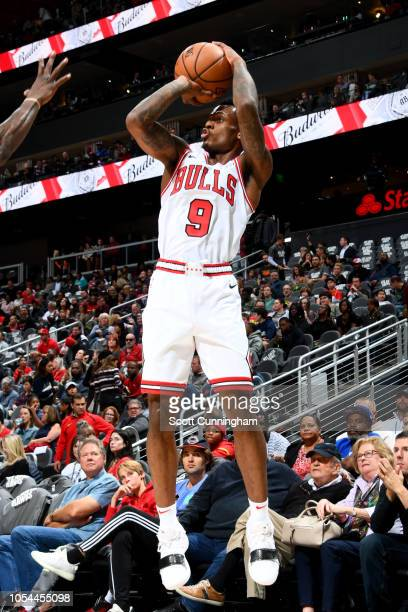 Antonio Blakeney of the Chicago Bulls shoots the ball against the Atlanta Hawks on October 27 2018 at State Farm Arena in Atlanta Georgia NOTE TO...