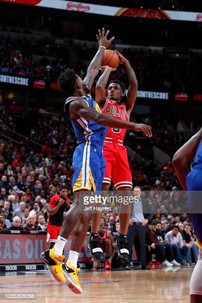 Antonio Blakeney of the Chicago Bulls shoots the ball against the Golden State Warriors on October 29 2018 at United Center in Chicago Illinois NOTE...