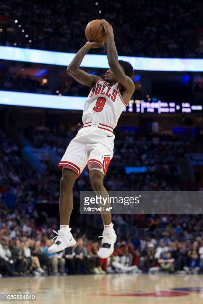Antonio Blakeney of the Chicago Bulls shoots the ball against the Philadelphia 76ers at the Wells Fargo Center on October 18 2018 in Philadelphia...