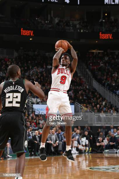 Antonio Blakeney of the Chicago Bulls shoots the ball against the Milwaukee Bucks on November 16 2018 at Fiserv Forum in Milwaukee Wisconsin NOTE TO...