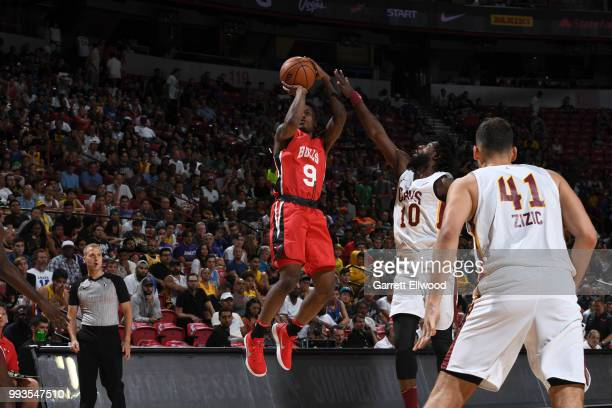 Antonio Blakeney of the Chicago Bulls shoots the ball against the Cleveland Cavaliers during the 2018 Las Vegas Summer League on July 7 2018 at the...