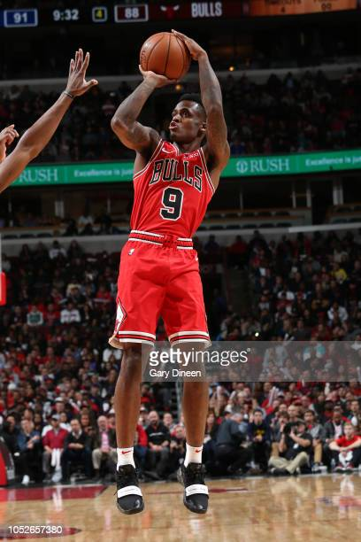 Antonio Blakeney of the Chicago Bulls shoots the ball during a game against the Detroit Pistons on October 20 2018 at United Center in Chicago...