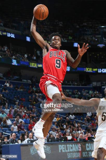 Antonio Blakeney of the Chicago Bulls shoots the ball during a preseason game against the New Orleans Pelicans on October 3 2017 at the Smoothie King...