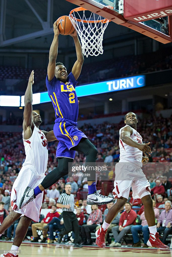 Antonio Blakeney #2 of the LSU Tigers goes up for a dunk against the Arkansas Razorbacks at Bud Walton Arena on February 23, 2016 in Fayetteville, Arkansas. The Razorbacks defeated the Tigers 85-65,