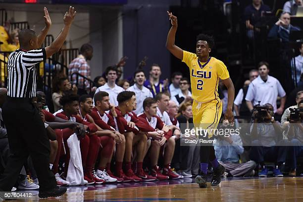 Antonio Blakeney of the LSU Tigers reacts to a three point shot during the first half of a game against the Oklahoma Sooners at the Pete Maravich...