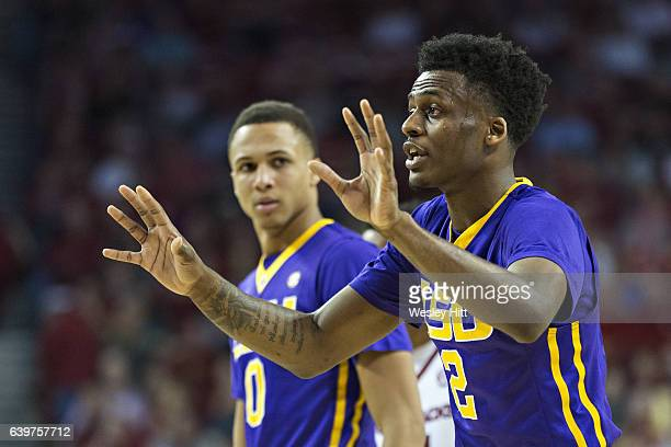 Antonio Blakeney of the LSU Tigers talks to his teammates during a game against the Arkansas Razorbacks at Bud Walton Arena on January 21 2017 in...