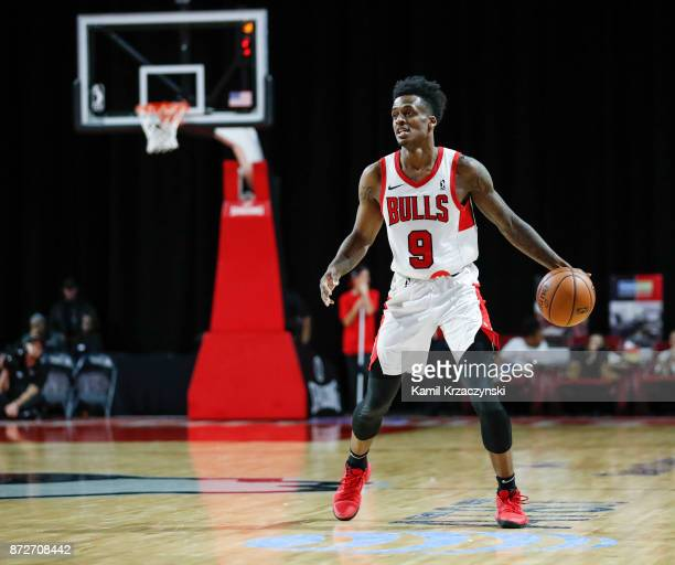 Antonio Blakeney of the Windy City Bulls looks to pass the ball against the Oklahoma City Blue during the second half of an NBA GLeague game on...