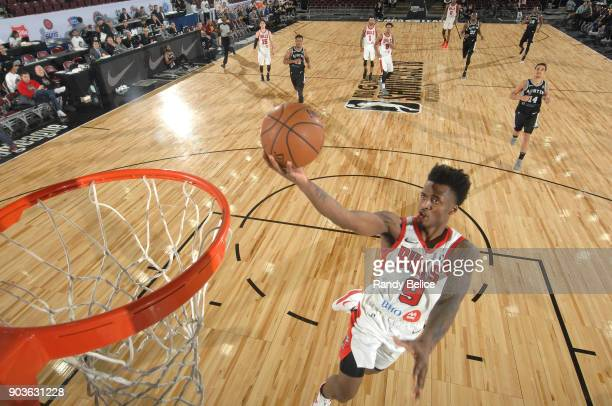 Antonio Blakeney of the Windy City Bulls shoots a lay up against the Austin Spurs during the NBA G League Showcase Game 3 on January 10 2018 at the...