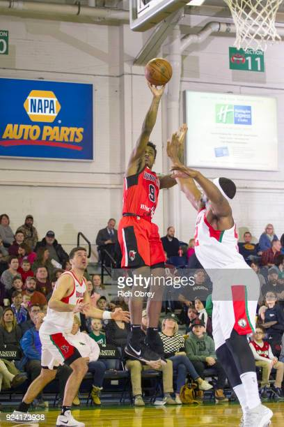 Antonio Blakeney of the Windy City Bulls shoots the ball against the Maine Red Claws during the NBA GLeague on February 25 2018 at the Portland Expo...