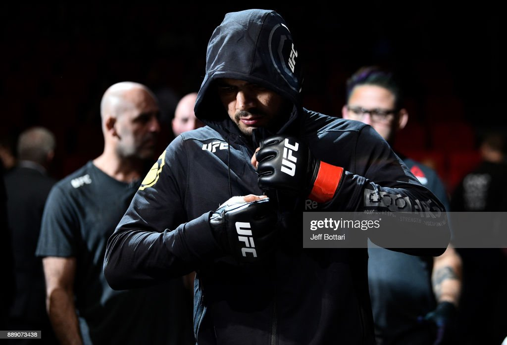 Antonio Braga Neto of Brazil prepares to enter the Octagon before facing Trevin Giles in their middleweight bout during the UFC Fight Night event inside Save Mart Center on December 9, 2017 in Fresno, California.