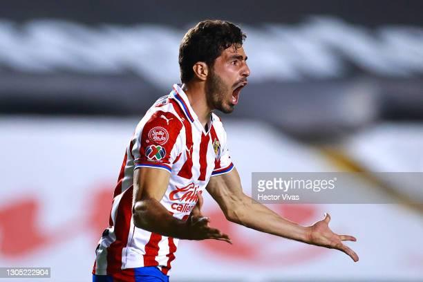 Antonio Briseno of Chivas reacts during the 9th round match between Queretaro and Chivas as part of the Torneo Guard1anes 2021 Liga MX at La...
