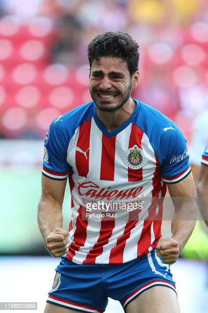 Antonio Briseño of Chivas celebrates after scoring the first goal of his team during the 2nd round match between Chivas and Tigres UANL as part of...