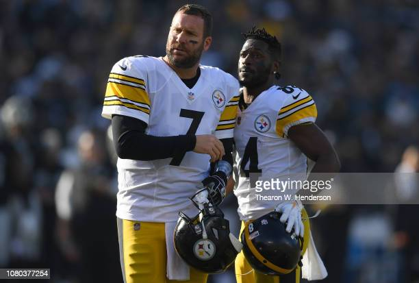 Antonio Brown and Ben Roethlisberger of the Pittsburgh Steelers looks on against the Oakland Raiders during the first half of their NFL football game...