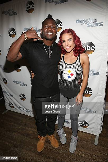 Antonio Brown and Sharna Burgess attend the Dancing With The Stars Semi Finals Episode Celebration at Mixology Grill and Lounge on May 16 2016 in Los...