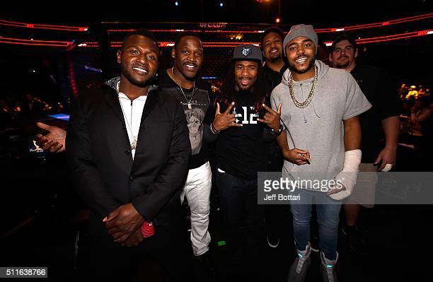 Antonio Brown Arthur Moats DeAngelo Williams Ramon Foster Mike Mitchell and Doug Legursky of the Pittsburgh Steelers pose for a photo during the UFC...