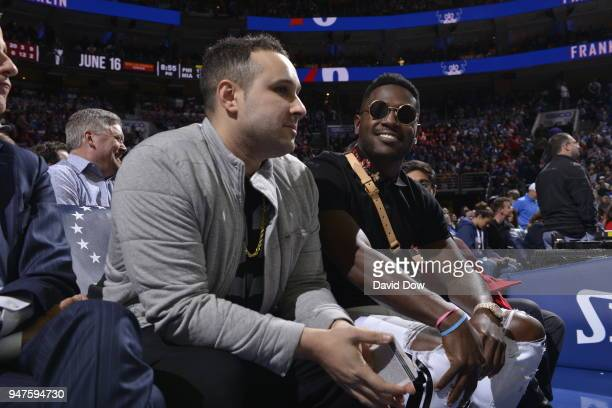 Antonio Brown attends a game between Miami Heat and Philadelphia 76ers in Game Two of Round One of the 2018 NBA Playoffs on April 16 2018 at the...