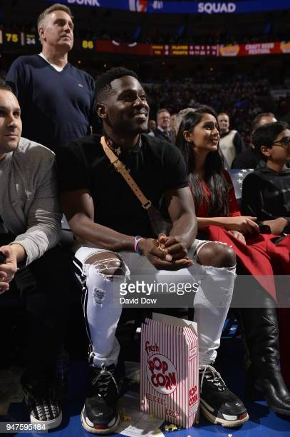 Antonio Brown attends the game between the Miami Heat and the Philadelphia 76ers in Game Two of Round One of the 2018 NBA Playoffs on April 16 2018...