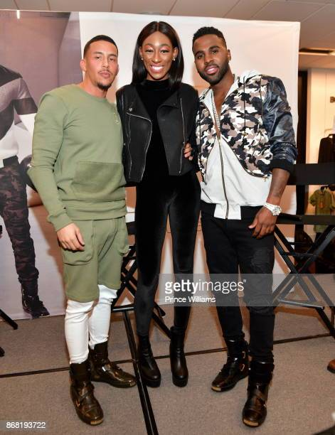 Antonio Brown Jayla Milan and Jason Derulo attend a Celebration for LVL XIII Luxury Wear at Bloomingdale's Lenox Square Mall on October 29 2017 in...