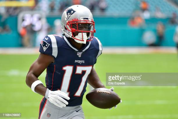 Antonio Brown of the New England Patriots during warmups before the start of the game against the Miami Dolphins at Hard Rock Stadium on September 15...