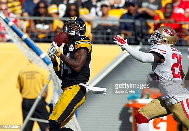 Antonio Brown of the Pittsburgh Steelers catches a 56 yard pass in the fourth quarter against Tramaine Brock of the San Francisco 49ers during the...