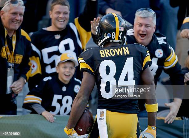 Antonio Brown of the Pittsburgh Steelers celebrates a touchdown with fans in the 4th quarter of the game against the Cleveland Browns at Heinz Field...