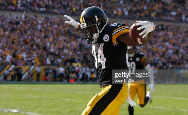 Antonio Brown of the Pittsburgh Steelers celebrates after a 47 yard touchdown reception in the second half during the game against the Atlanta...