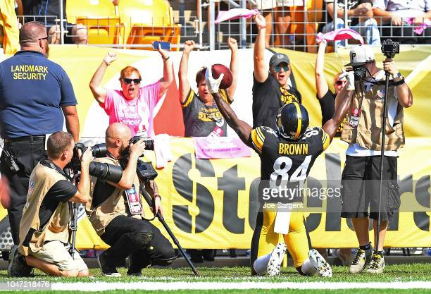 Antonio Brown of the Pittsburgh Steelers celebrates after a 9 yard touchdown reception in the second half during the game against the Atlanta Falcons...