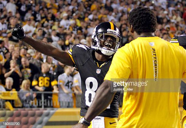 Antonio Brown of the Pittsburgh Steelers celebrates after scoring a touchdown in the first quarter against the Indianapolis Colts during the game on...