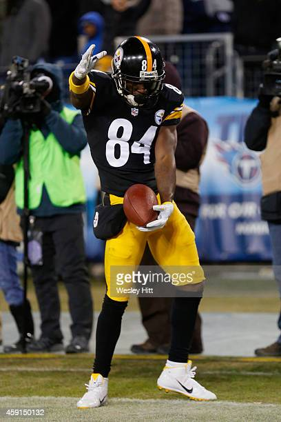 Antonio Brown of the Pittsburgh Steelers celebrates his touchdown against the Tennessee Titans in the fourth quarter of the game at LP Field on...