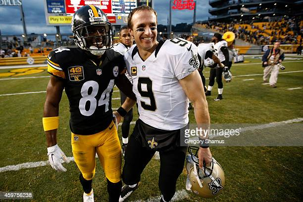 Antonio Brown of the Pittsburgh Steelers congratulates Drew Brees of the New Orleans Saints after New Orleans 3532 win at Heinz Field on November 30...