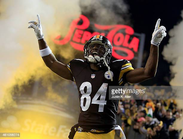 Antonio Brown of the Pittsburgh Steelers is introduced during the Wild Card game against the Baltimore Ravens on January 3, 2015 at Heinz Field in...