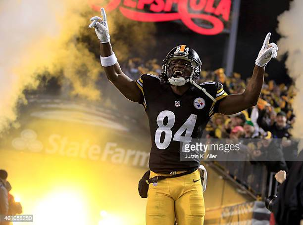 Antonio Brown of the Pittsburgh Steelers is introduced during the Wild Card game against the Baltimore Ravens on January 3 2015 at Heinz Field in...