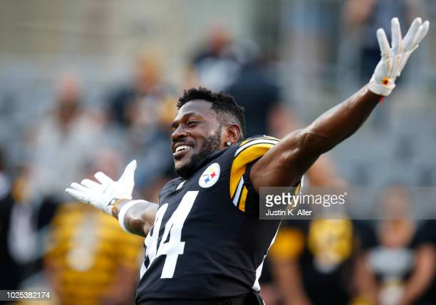 Antonio Brown of the Pittsburgh Steelers jokes around before a preseason game against the Carolina Panthers on August 30 2018 at Heinz Field in...