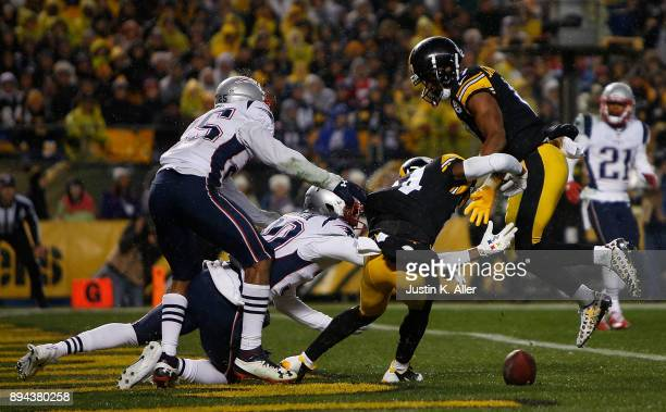 Antonio Brown of the Pittsburgh Steelers lands awkwardly after being unable to catch a pass in the second quarter during the game against the New...