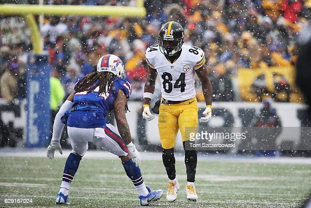 Antonio Brown of the Pittsburgh Steelers lines up against Stephon Gilmore of the Buffalo Bills during the second half at New Era Field on December 11...