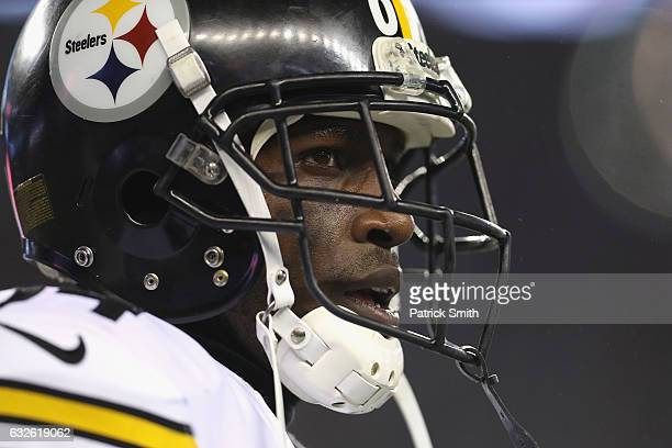 Antonio Brown of the Pittsburgh Steelers looks on against the New England Patriots in the AFC Championship Game at Gillette Stadium on January 22...